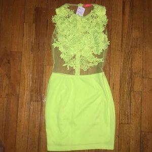 Forever 21 Neon Yellow Bodycon Mini Dress